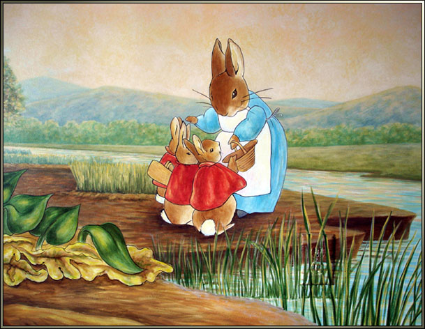 Peter rabbit mural by visionary mural co inspired by for Beatrix potter mural wallpaper