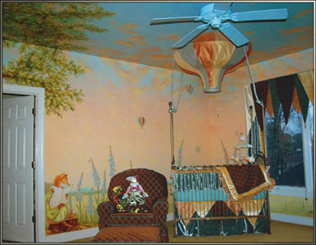 Mural living room and interior design